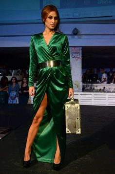Green velvet dress with a big cut out