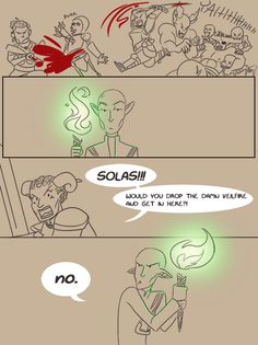 "sammywhatammy: i know anyone holding the veilfire does this, but i feel solas does it because he's a big elfaboo""PROTECT PRETTY SPIRIT FIRE AT ALL COSTS DESU"""