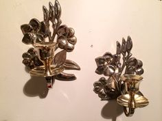 Brass Floral Candle Holders Wall Decor Pair