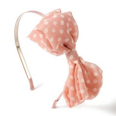 Claire's Lightweight Pink & White Polka Dot Bow Headband http://www.claires.com/store/us/goods/hair/cat1260198/headbands/p36448/pink+polka+dot+bow+headband/