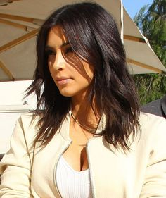 Kim Kardashian Cute Mid Length Hairstyles