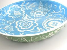 Made to Order-Large  Ceramic  Blossom Bowl Sea blue -- seen in Cottages and Bungalows.via Etsy.Susan Rodriguez
