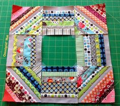 KAH says: Love this to frame a fussy cut block or a cute appliqué center.