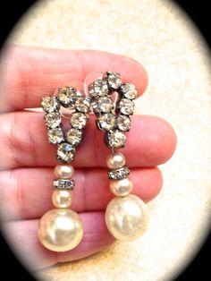 Art Deco Rhinestone Vintage Pearl Earrings by JNPVintageJewelry