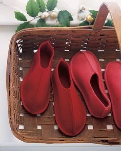A basket of slippers by the front door--A great way to make your guests feel at home. . . .