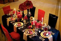 gold and silver party decor | ... Reception Ideas and Decor: Red Black and Gold Table Decorations