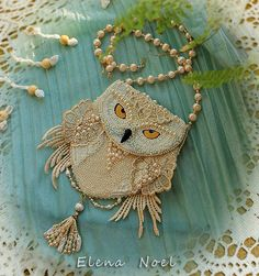 Snowy owl beaded necklace coin bag with owl. by ElenNoel on Etsy