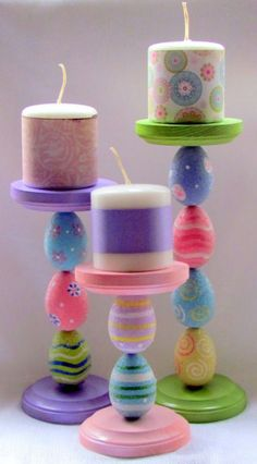Take the tabletop trio concept a step further and create lovely #Easter egg candle holders!