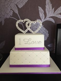 Love heart diamante wedding cake