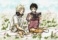 """""""Sketch / Ty Blackthorn & Kit Herondale / The Dark Artifices Second sketch of the day / A few of the proportions are off *cries* / Took me a little time to trace and draw those Marks 😅 / Kit is wearing Ty's headphones! Shadowhunter Academy, Lady Midnight, Cassie Clare, Shadowhunters Tv Show, Cassandra Clare Books, Fanart, The Dark Artifices, City Of Bones, The Infernal Devices"""