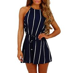 2ac30c6a7c3 Rambling Women s Summer Striped Jumpsuit Casual Loose Off Shoulder  Sleeveless Jumpsuit Rompers  rompers  jumpsuit