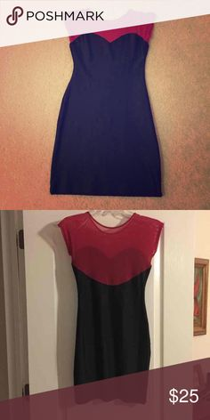 American Apparel bodycon dress Black and raspberry bodycon dress. Illusion sweetheart top. Never been worn but no tags. Sized M/L. American Apparel Dresses Mini