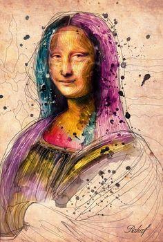 rahaf dk albab #brush #illustration #monalisa