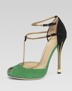 Ophelie Two-Tone Open-Toe Pump, Green/Black by Gucci at Neiman Marcus.