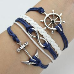 Anchor Bracelet Infinity Bracelet Rudder Bracelet  Antique by HLSU