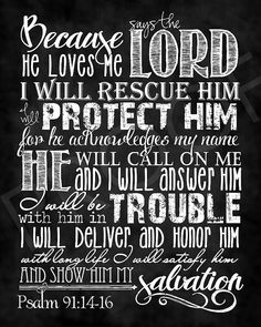 Scripture Art  Psalm 91:14-16  chalkboard by ToSuchAsTheseDesigns