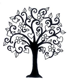 Of The Heart Heart Blossoming Tree - A tall tree with hearts and leaves Family Tree With Pictures, Tree Templates, Free Family Tree, Heart Tree, Celtic Tree, Wood Burning Patterns, Paper Tree, Quilling Patterns, Stencil Painting