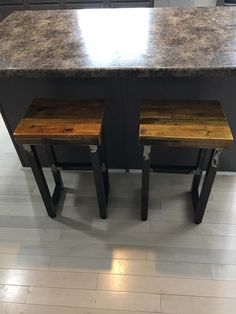 Reclaimed Pallet Wood and Steel Bar Stool/Counter Steel