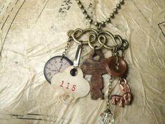 Vintage Junk Drawer Necklace in Bronze by kristibasket on Etsy, $34.00