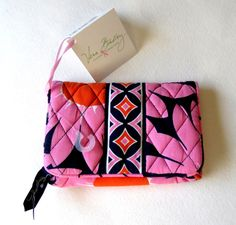 Zip Section With Vera Bradley Ribbon Pull. Kisslock Coin Holder. NWT (UPC). Pink Floral Pattern. | eBay!