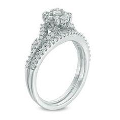 0.50 CT. T.W. Diamond Frame Vine Split Shank Bridal Set in 10K White Gold   View All Wedding   Wedding   Peoples Jewellers