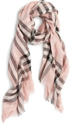 Burberry Pink heather nova check cashmere  Giant  fringe scarf ( 342 ... 0dfac7aea51