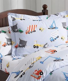 Construction Duvet Construction Duvet: These vehicles are loved for their sheer power. Dump trucks, front loaders and more bring excitement to a child's room.