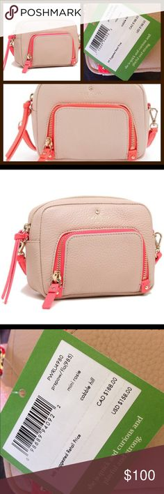 """NWT KSNY Cobble Hill Mini Rosie NWT 🎄🎉 Color is pressed powder/flo geranium. Soft pebbled cowhide with 14 kt goldplated hardware. Mini crossbody measures 4.1"""" h x 5.7"""" w x 1.6"""" d and strap has 22"""" drop. Fully lined, zipper closure, with exterior zip pocket. Great holiday gift 🎁MSRP $158 plus tax. kate spade Bags Crossbody Bags"""