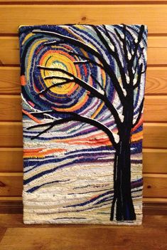 """Leena Mäenpää to The Crochet Crowd January 15 at 1:15pm · Ähtäri, Finland ·  I can't paint, but I wanted to make something to hang on my empty wall. I had some leftover yarn and I came up with this idea - this is one of my crocheted art reproductions: """"Winter"""""""