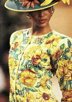 Yves Saint Laurent S/S 1988 Cubists and Homage to Braque Couture Collection van Gogh Sunflower sequin jacket. Naomi Campbell models.