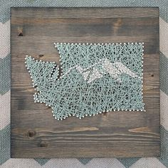 State String Art With Mountain Range.  Rustic by TheWoollyBugger