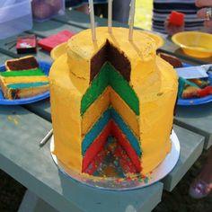 Lego head rainbow cake