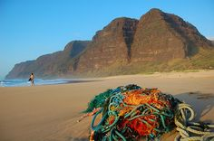 Creative Commons  Titled: Polihale Kauai. (commentary by the photographer)The contrast in this photo is that the breath taking scenery is filled in with a pile of trash. Although beautifully colored with every hue in the rainbow, the ropes are essentially garbage. As responsible humans we should try not to pollute the earth but then the photo would lack the elements that make it great. By Justin Ornellas.