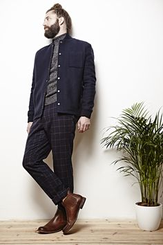 AIDA Shoreditch AW 14 photo shoot featuring Minimum grey high neck knit, Bellerose checked loose trousers, Frye brown chelsea boots and Samsoe & Samsoe navy jacket. Minimal, Scandi style on Swedish model Konrad.