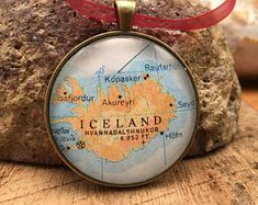 ICELAND Christmas Ornament, Keep a memory Alive / HONEYMOON Gift / Wedding Map Gift / Travel Tree Ornament /Bridesmaid Gift / Secret Santa /
