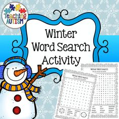 Winter Word Search Fun Activities  This product includes 8 different word searches all using vocabulary related to winter time. There are 5 easy word searches and 3 harder word searches.   Come in black and white for ink friendly printing.