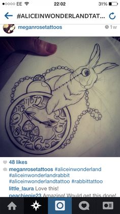 Alice in Wonderland tattoo sleeve ideas :) - White rabbit and pocket watch - late for an important date