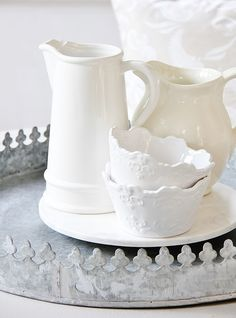 Back Porch Decorating and an Exciting Announcement White Pitchers, White Dishes, Porch Table, Galvanized Tray, Thistlewood Farms, White Curtains, Linens And Lace, Creamy White, Porcelain Ceramics