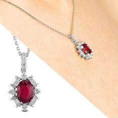 Collier K Weissgold, Diamanten ct H/si & Rubin ct 1 Karat, 18th, Elegant, Diamond, Jewelry, Necklaces, Line, Classy, Jewlery