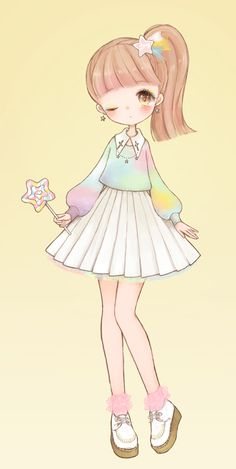 ✮ ANIME ART ✮ pastel. . .rainbow. . .sweater. . .pleated skirt. . .ponytail. . .makeup. . .lollipop. . .colorful. . .fairy kei fashion. . .cute. . .kawaii