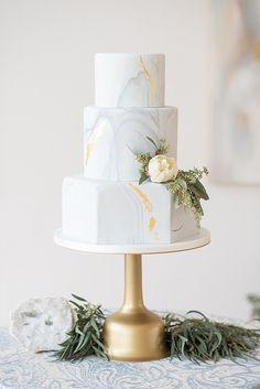 Gold Wedding Cakes elegant blue and white wedding inspiration Metallic Wedding Cakes, Elegant Wedding Cakes, Beautiful Wedding Cakes, Wedding Cake Designs, Wedding Cake Toppers, Beautiful Cakes, Hexagon Wedding Cake, Elegant Cakes, Wedding Cake Simple