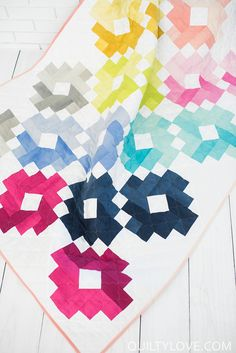 Ombre Gems Quilt - The Cotton and Steel Pigments one - Quilty Love.  Modern ombre quilt using fat quarters, yardage  or jelly rolls.  Rainbow quilt.  Ombre quilt pattern using Cotton and Steel pigments.