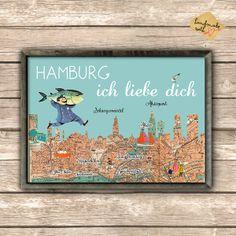 Hier habe ich ein Hambrug Poster aus einem alten Stadtplan angefertigt.    Die Illustration hat DIN A3 Größe und ist auf stabilem, qualitiativ hoch...
