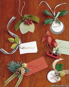 Leaf and Berry Tags - Add an ornament or bauble that represents the interest of the recipient.  Really great with baby stockings as they can be added to, or changed, to grow with the child.