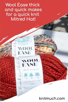 Looking for a yarn that knits up quickly for that instant gratification? Here's a look at Lion Brand yarn Wool Ease Thick & Quick and the Mitered Hat pattern to give it whirl in a jiffy! Free knitting pattern #Lionbrand #Lionbrandyarn #Yarn #Yarnaddict #Knittingtutorials Free Knitting, Knitting Patterns, Mitered Square, Crayon Box, Super Bulky Yarn, Quick Knits, Lion Brand Yarn, Acrylic Wool, Yarns