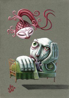 El sueño persiste  Acrílico sobre papel / 2014 21 x 29 cm  The dream persists Acrylic on paper / 2014 21 x 29 cm Lowbrow Art, Pop Surrealism, Weird Art, Fish Art, Surreal Art, Lion Sculpture, Creatures, Animation, Statue