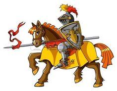 medieval knight: Medieval knight on horseback, preparing for joust or fight, vector illustration