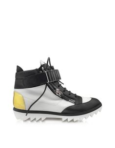 Giuseppe Zanotti Black and White Leather High-top Sneaker at FORZIERI