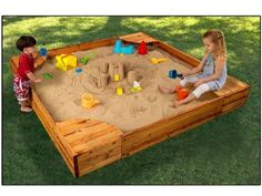 SandBox Wooden with 4 Corner Seats Kids Sand Outdoor Playground Safety Cover New in Toys & Hobbies, Outdoor Toys & Structures, Sand & Water Toys | eBay