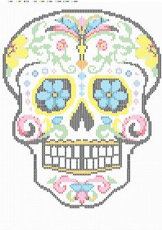 SUGAR SKULL CROSS STITCH - TRY ON PLASTIC CANVAS -- Tête de mort brodée au point de croix - tutoriel